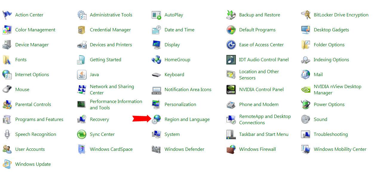 اضافه کردن زبان فارسی به ویندوز 7